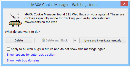 MAXA Cookie Manager - Web bugs found!