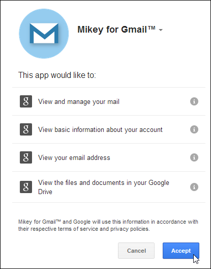 Mikey For Gmail Permission