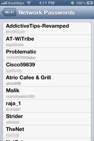 NetworkList iOS Passwords