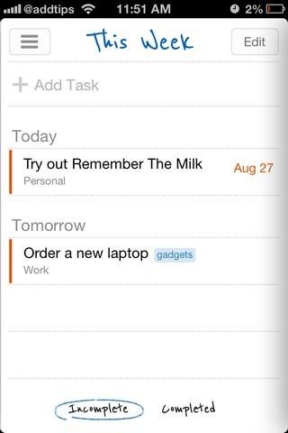 Remember The Milk iOS