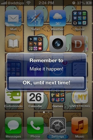 Remind Me iOS Alert