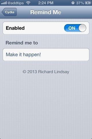 Remind Me iOS Settings