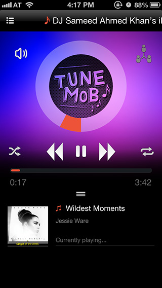 TuneMob iPhone Hosting-shared-music-playback