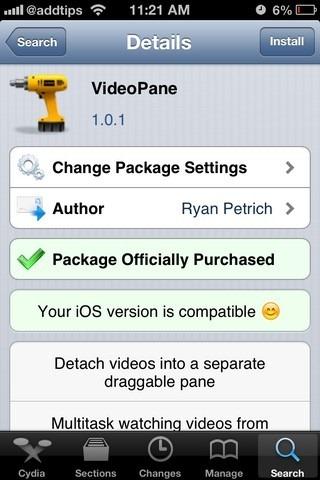VideoPane iOS Cydia