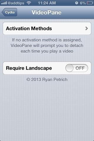 VideoPane iOS Settings