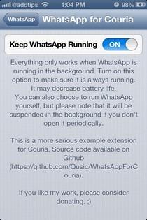 WhatsApp for Couria iOS Keep Running