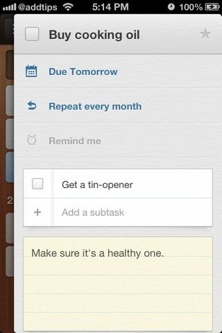 Wunderlist iOS Task