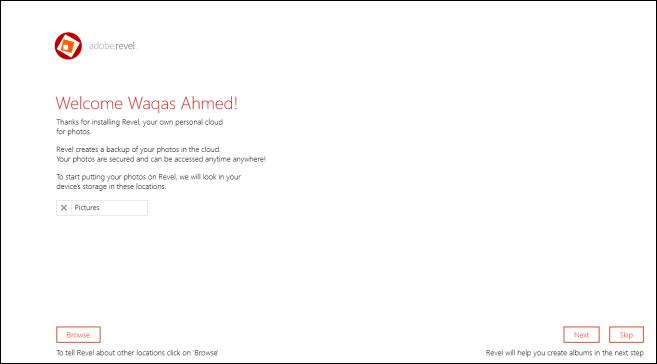 Adobe Revel_Main Screen