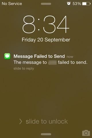 Alert On Message Failed iOS 7