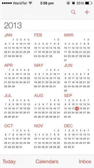 Calendar iOS 7 Year
