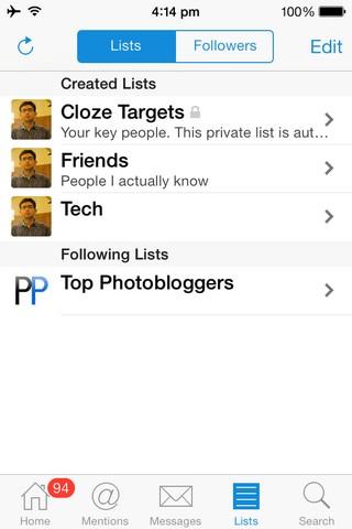 Echofon 1 iOS Lists