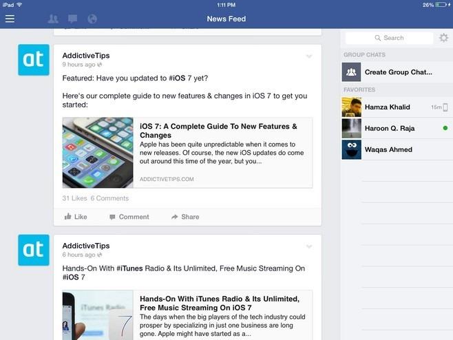 Facebook iOS 7 iPad