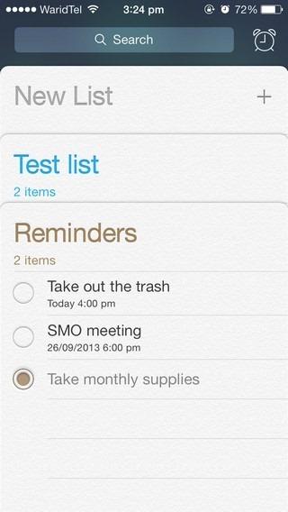 Reminders iOS 7
