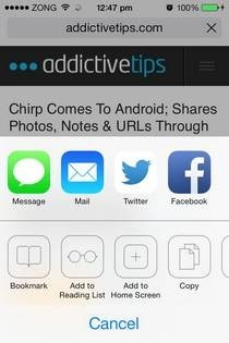 Safari iOS 7 Share