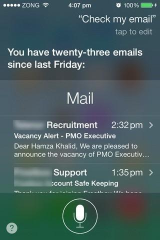 Siri iOS 7 Mail Check