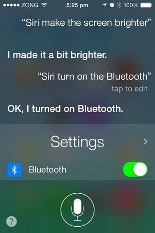 Siri iOS 7 System Toggles