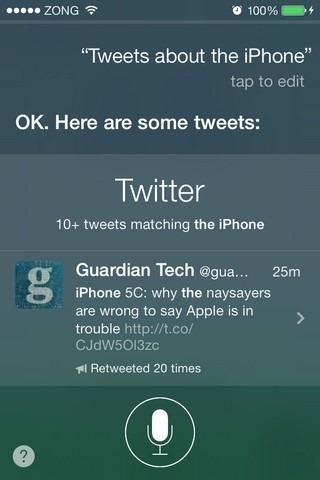 Siri iOS 7 Twitter Search