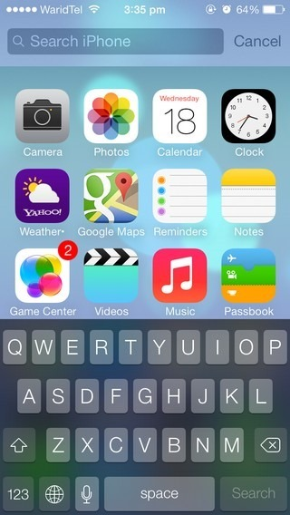 Spotlight Search iOS 7