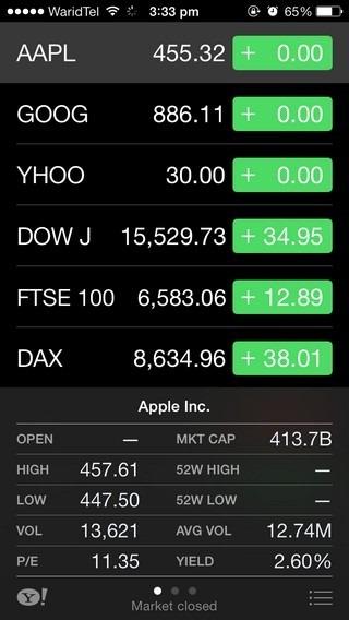 Stocks iOS 7