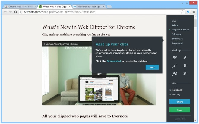 What's New in Web Clipper for Chrome  Evernote - Google Chrome