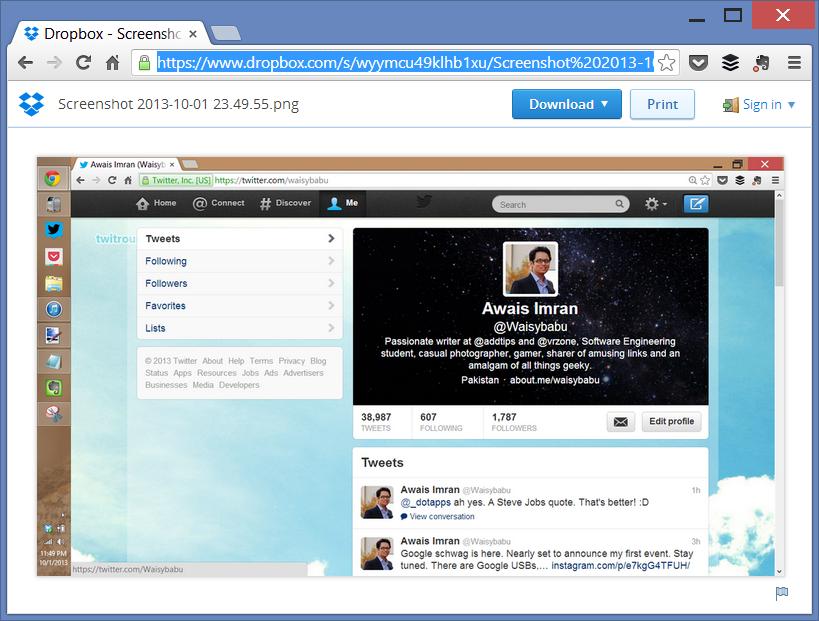 dropbox automatic screenshot uploading