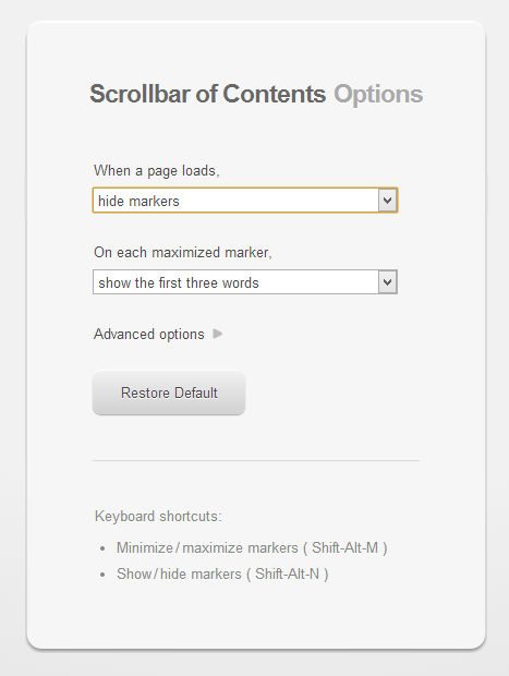 Scrollbar of Contents Options