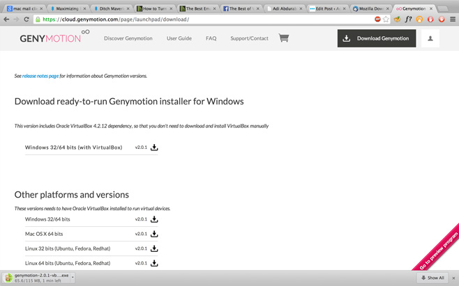 Genymotion Download page