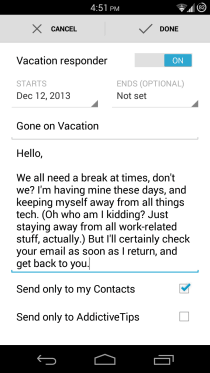 Gmail for Android Vacation Responder 2