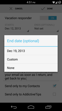 Gmail for Android Vacation Responder 3
