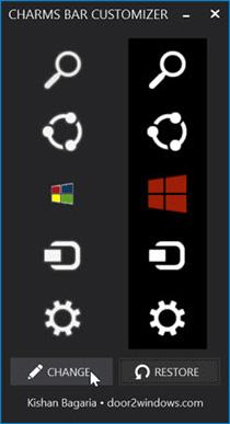 Change Windows 8.1 Charms Bar Icons With Charms Bar Customizer