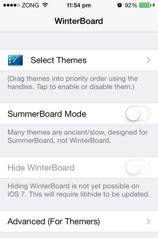 WinterBoard iOS 7 Settings