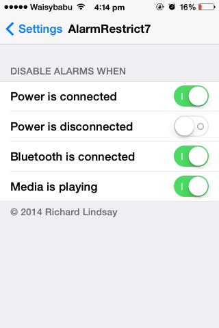 alarmrestrict7 disable alarm media playing bluetooth connected power charging disconnected