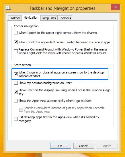 Boot To Desktop Is Default