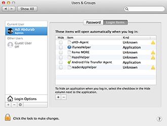 Mac Work - Login Items