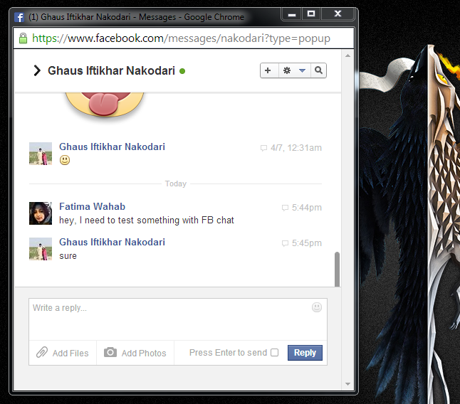 fb chat pop out