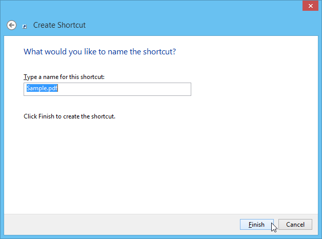 Create shortcut step 2