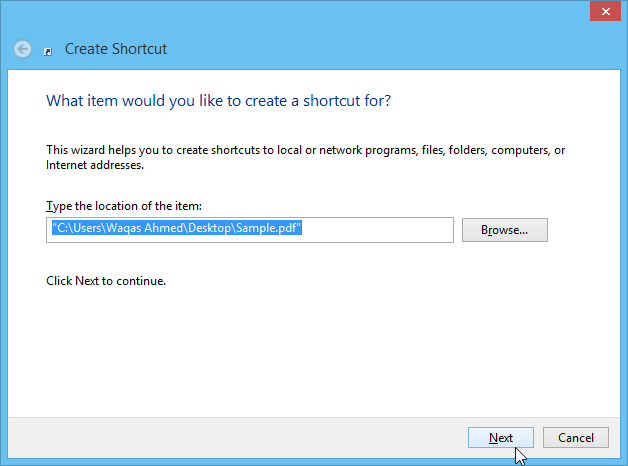 Create shortcut step one