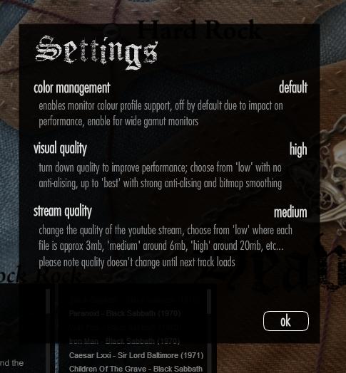 Map of Metal settings