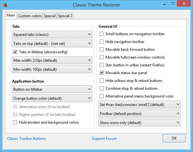 Restore Classic Theme Firefox 29_Classic Theme Restorer Menu