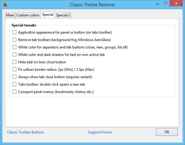 Restore Classic Theme Firefox 29_Special Tweaks