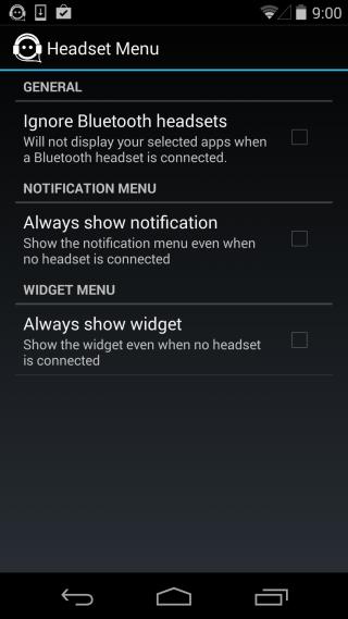 Headset Menu settings
