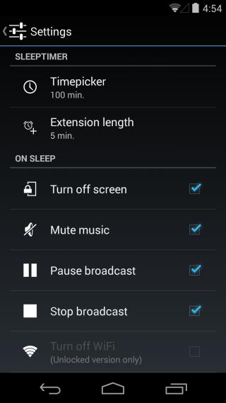 Sleep Timer settings