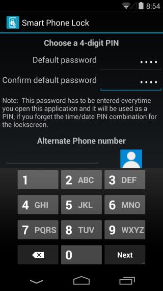Smart Phone Lock default pin