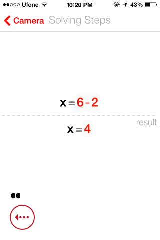 PhotoMath Solve result