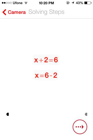 PhotoMath Solve steps