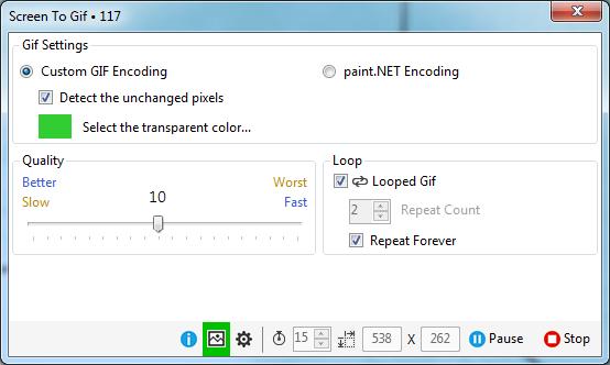 Screen To Gif settings