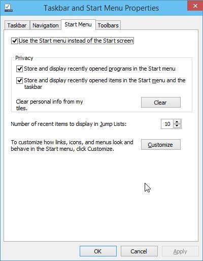 start screen win 10