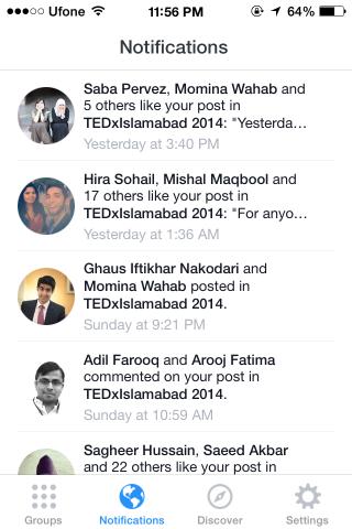 Facebook Groups notifications