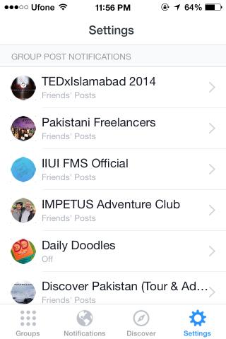 Facebook Groups settings