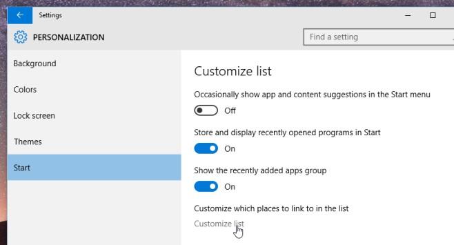 start menu customize list
